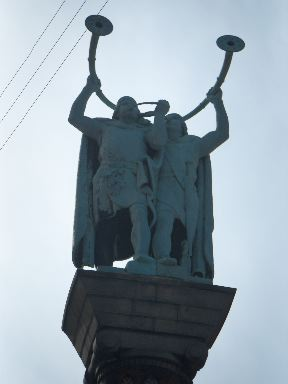 Statue of Lur players in the main square of Copenhagen